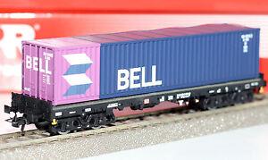 Rivarossi-H0-HR6134-01-Container-Tragwagen-mit-40-Fuss-Container-Neu