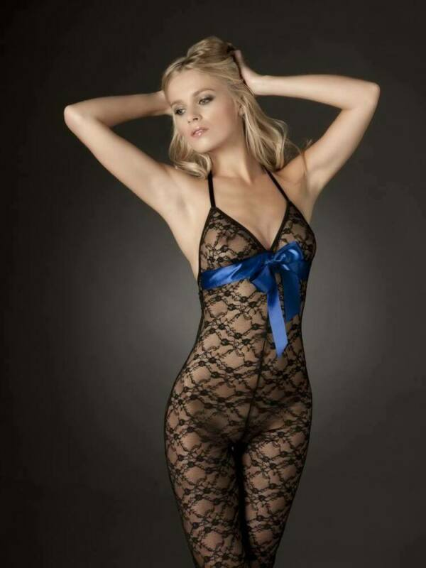 Ann Summers Red Blue Sexy Miley Black Lace Body & Satin Ribbon Detail Anniversar