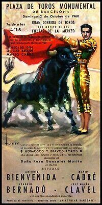 "Bullfighting Vintage Poster #26 Canvas Art Poster 12/""x 24"