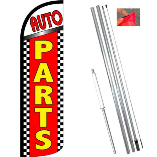 Auto Parts Checkered Windless-Style Feather Flag Bundle 14/' OR Replacement Fla