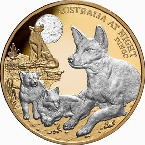 Niue 2021 Australia At Night Dingos, Pups & Moon $100 1 Oz Gold Proof w/Platinum