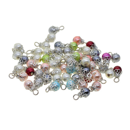 50x Pearl Filigree Flower Charms Pendant Jewelry Making Findings Accessories