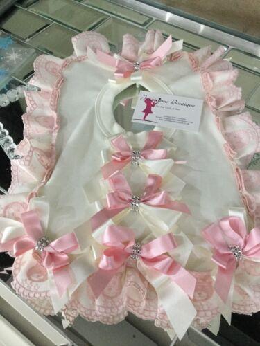 Pretty Bib Pink Teddy Bear Ribbon Christening Jazziejems Boutique London USA
