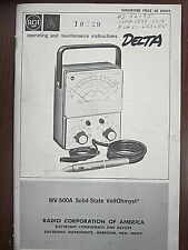Rca Wr 500a Solid State Voltohmyst Operating Amp Maintenance Instructions