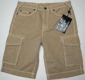 NWT-149-True-Religion-Cargo-Shorts-Mens-Size-32-34-36-42-Tan-Beige-Cotton-NEW