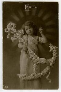 c 1910 Child Children Cute ANCHOR OF HOPE Girl photo postcard