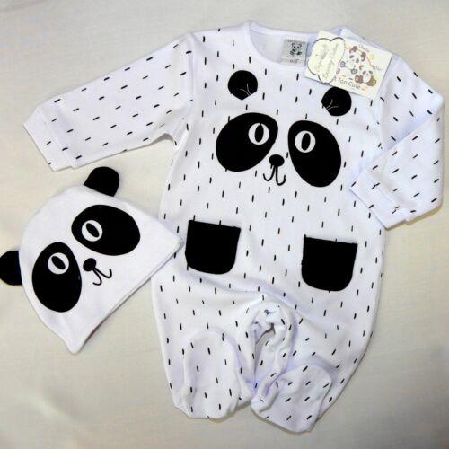 NEU,süßer Unisex Baby  Strampler mit Mütze Panda Gr 56,62,68