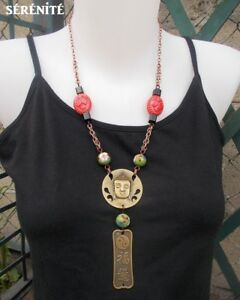 Collier-Bouddha-bronze-perles-cloisonnees-pendentif-Bouddha-amulette-yin-yang