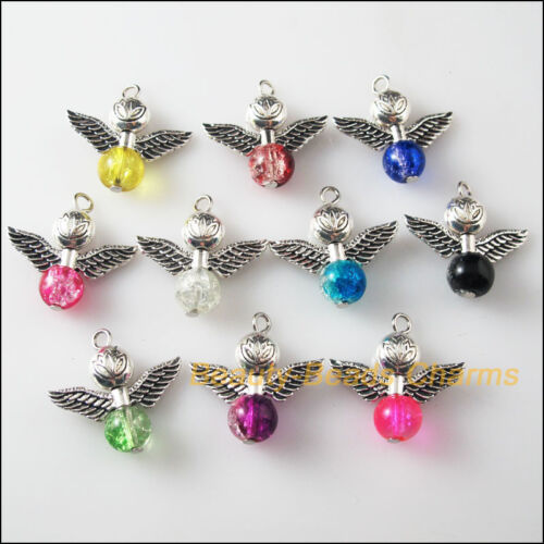 10Pcs misti in vetro che balla LOTUS Ali D'Angelo Charms Ciondoli 24mm