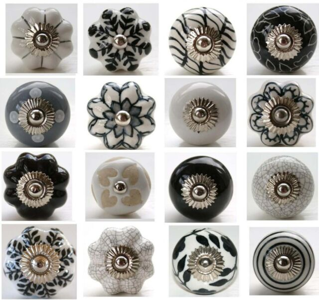 These Please Black Grey White Ceramic Door Knobs Handles Drawer Polka Dot Flower