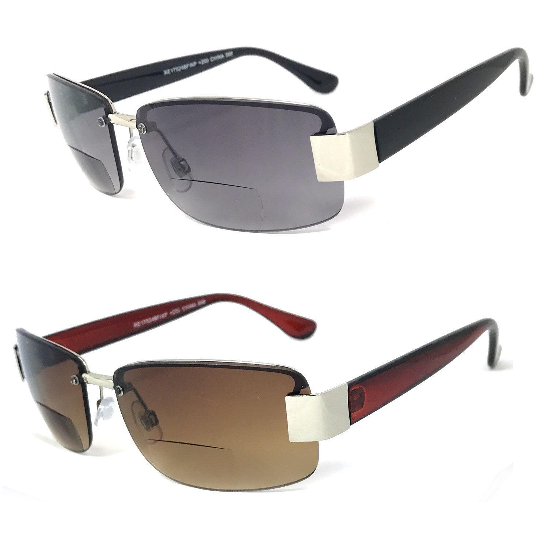 0eb9108963f8 Details about Semi Rimless Mens Aviator Bifocal Sunglasses Sun Readers  Reading Glasses
