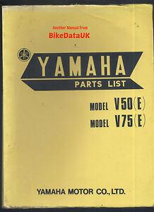 Genuine-Yamaha-V50-V75-1971-gt-Parts-List-Catalogue-Manual-Book-V-50-75-E-AG58
