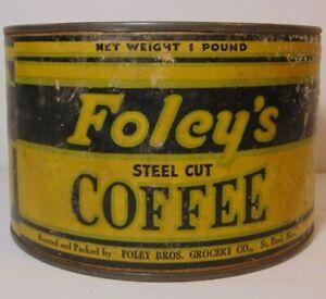 Rare-Old-Vintage-1930s-Foley-Foley-039-s-COFFEE-TIN-ONE-1-POUND-St-Paul-Minnesota