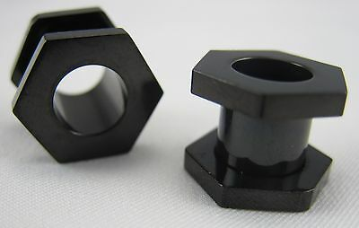 1 PAIR BLACK HEXAGON TITANIUM SCREW FIT TUNNELS PLUGS GAUGES EARLETS NUTS BOLTS