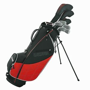 Wilson-Golf-Ultra-Men-039-s-9-Club-Right-Handed-Set-w-Bag-and-Covers-Black-amp-Red