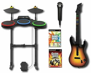 ps2 band hero world tour game set w guitar drums mic 2 games bundle kit two ebay. Black Bedroom Furniture Sets. Home Design Ideas