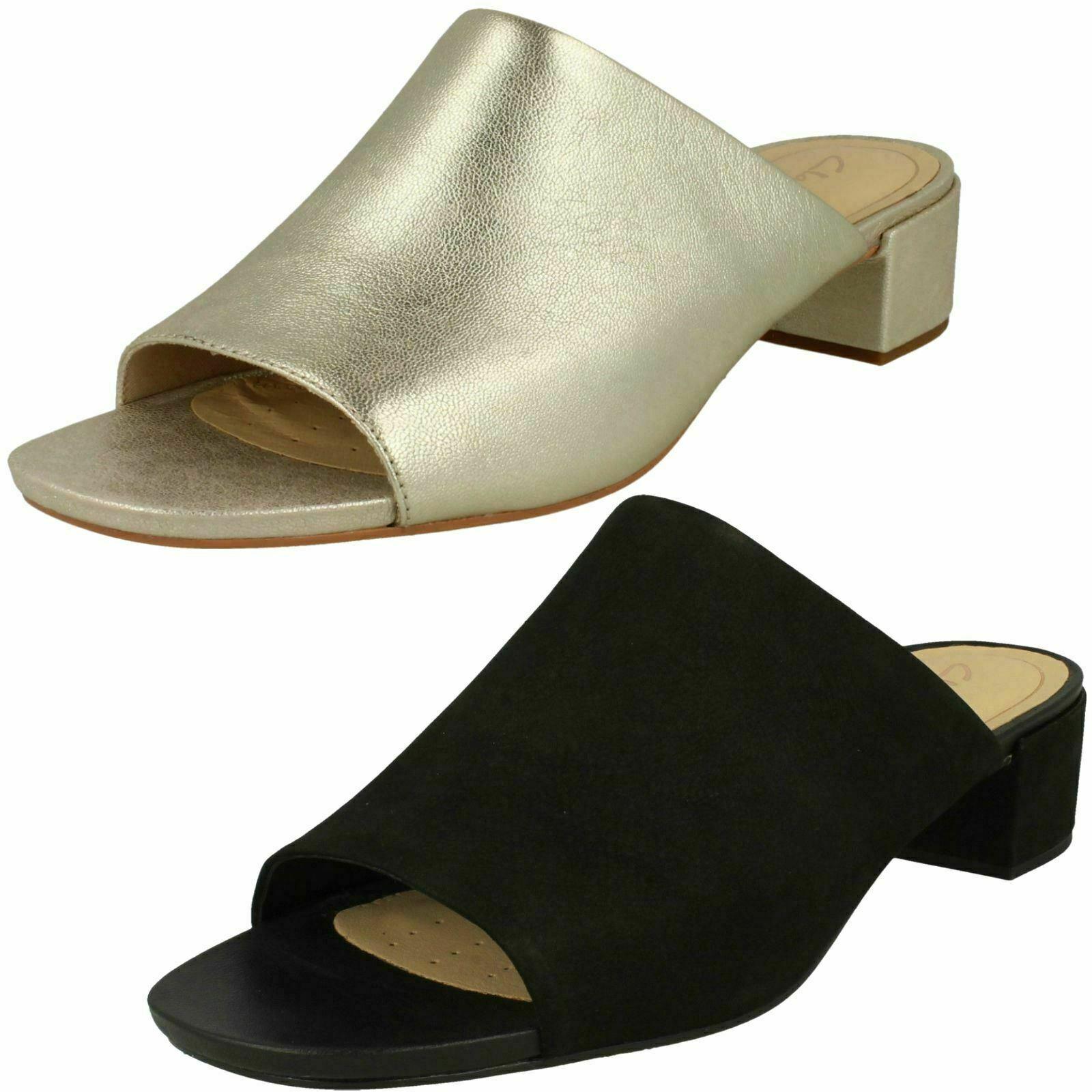 Ladies Clarks Orabella Daisy Smart Mule Heeled Sandals - D Fitting