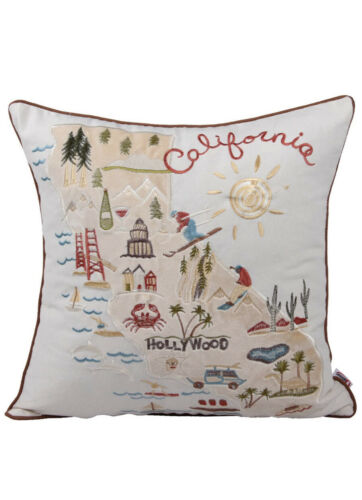 1 City Scene Map of California Embroidered Throw Pillow Cover Cushion Case 18x18