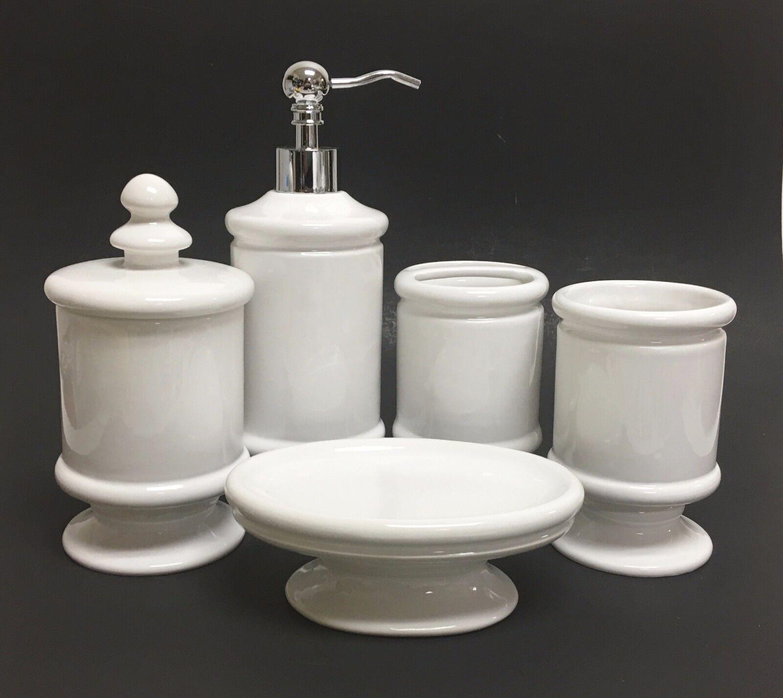 Neuf 5 Blanc Pièces Set Blanc 5 Céramique Distributeur de Savon  Porte Savon  Verre 3528f1
