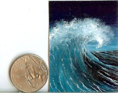 PRINT 2x1.5 Inch GLOSSY Seascape Sea Miniature Dollhouse PRINT 1:12 Scale HYMES