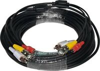 Video,power,audio Combo Premade Cables For Cctv Security Cameras, 70 Ft