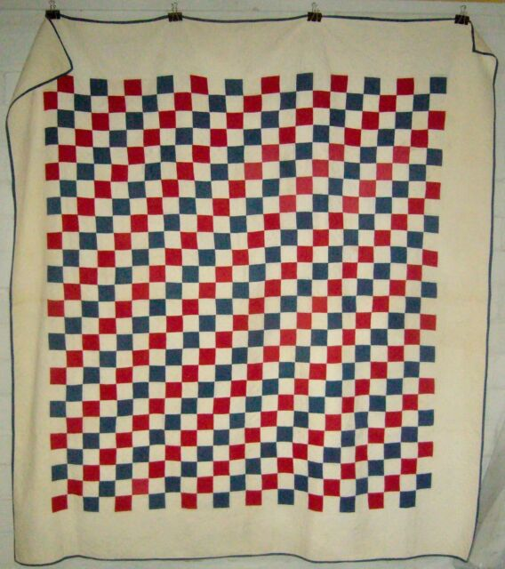 ANTIQUE 19th CENTURY HAND STITCHED @ 8-9 RED WHITE BLUE PATRIOTIC PATCH QUILT