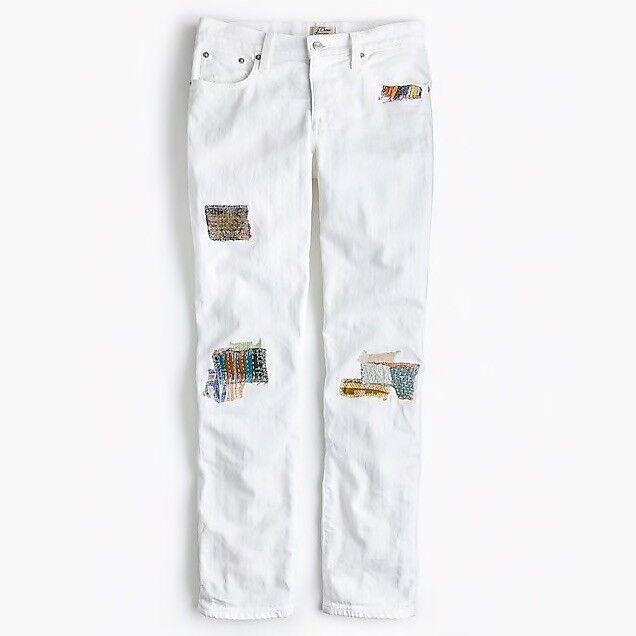 Sean Hornbeak for J.Crew slim boyfriend jean with indigo patches in white SZ 27