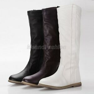 Womens-Ladies-2015-New-Pull-On-Knee-High-Riding-Motorcyle-Boots-Shoes-Plus-Size