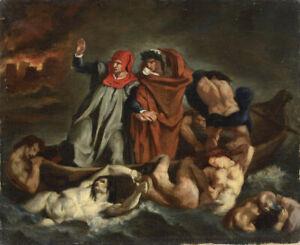 Edouard Manet La Barque de Dante de Delacroix Poster Giclee Canvas Print