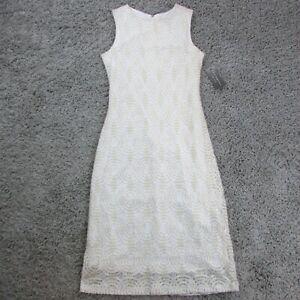 Sharagano-Women-039-s-Dress-White-amp-Gold-Size-4-HW9S17RX3-99