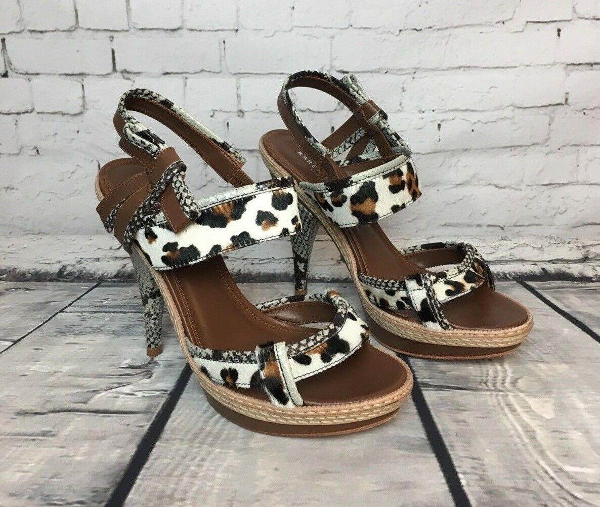KAREN MILLEN Donna Tan Animal - Print High Heels Sandals - Animal Size UK 5 a2a45a