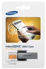 SAMSUNG EVO 64GB MicroSD Micro SDXC Class 10 Flash Memory Card w USB Reader 2.0