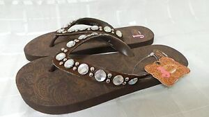 "f5e1caacff65 New! Womens Justin ""India"" Sandal Flip Flops Brown 5514002 Size 6 ..."