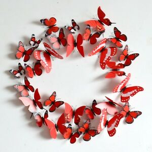 New-Red-12PCS-DIY-3D-Butterfly-Wall-Sticker-Decal-Home-Decor-Room-Decoration