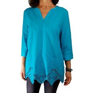 CHICOS $99 L 2 Azul Aqua Blue Embroidered Lace-Trim Tunic Top Cotton Blouse Fall