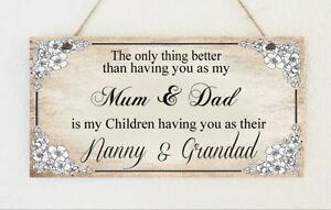PLACCA fatti a mano Mum & Dad Nonna Nanny & Grandad Regalo segno regalo festa della mamma  </span>