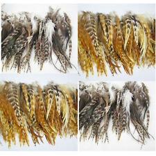40Pcs Grizzly Feathers hair for extensions 2 mix Natural Colors 6-8inch long NEW