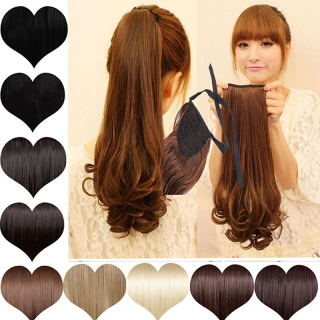 girls gorgerous long Straight Curly tie up clip in ponytail hair Extensions wm