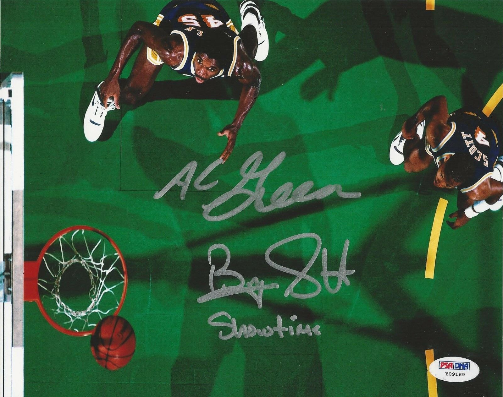 AC Green Byron Scott Los Angeles Lakers Signed 8x10 - PSA/DNA # Y09169