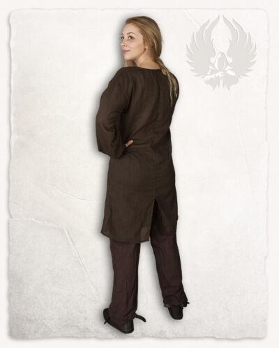 Lenora Frauentunika Baumwolle braun M Larp Mittelalter Reenactment E#00140