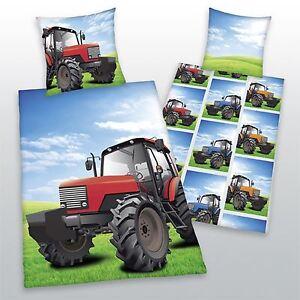 Rouge-Tracteur-Simple-Housse-Couette-Reversible-et-D-039-Oreiller-Set-100-Coton