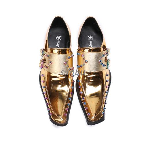Men Synthetic Pointy Toe Rivet British Metal Trim Snakeskin Clubwear Dress Shoes