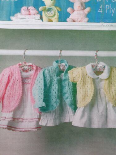 """229 4PLY KNITTING PATTERN FROM BIRTH TO 2 YEARS 16-22/"""" BOLERO STYLE"""