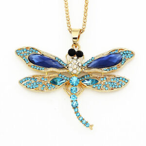 Betsey-Johnson-Crystal-Rhinestone-Dragonfly-Pendant-Chain-Animal-Necklace-Gift