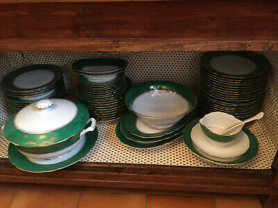 Servizio di piatti Richard Ginori elegante anni'50 verde e ...