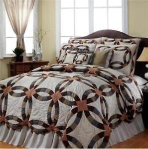 harvest ring 4 pc king quilt bedding set 1 quilt 2 standard shams 1 bed skirt ebay. Black Bedroom Furniture Sets. Home Design Ideas