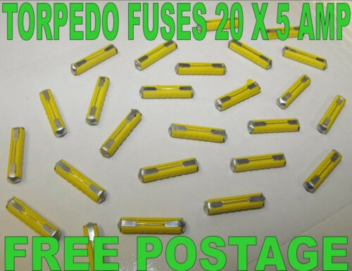 Pack of 20 Continental 5 Amp *Top Quality! Bullet Ceramic fuses Torpedo