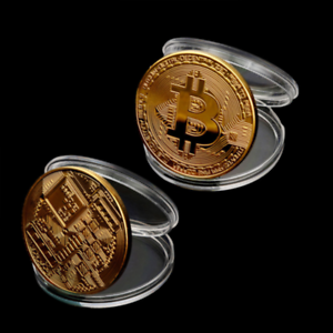 Hot-Rare-Gold-Plated-Physical-Bitcoin-in-protective-acrylic-case-FAST-SHIPPING
