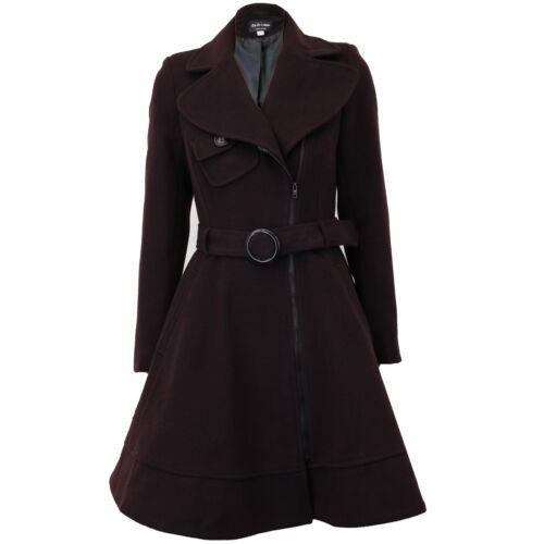 Ladies Coat Womens Jacket Wool Look Belt Long Trench Warm Winter New