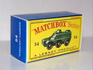 Matchbox-Lesney-No-54-SARACEN-PERSONNEL-CARRIER-empty-Repro-style-D-Box